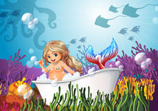 A bathtub under the sea with a mermaid Royalty Free Stock Image