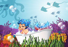A bathtub under the sea with a mermaid Royalty Free Stock Photos