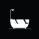Bathtub vector on black vector Stock Photo