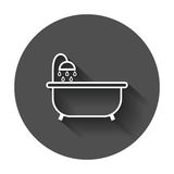 Bathtub vector icon. Bathroom shower vector illustration with long shadow Royalty Free Stock Photos