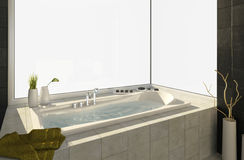 Bathtub with views Stock Photo