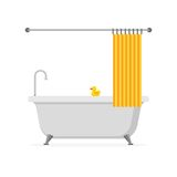 Bathtub with yellow rubber duck and open shower curtain isolated on white background. Bath time in flat style Royalty Free Stock Images