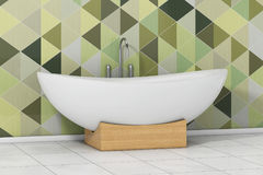 Bathtube bianco moderno davanti ad Olive Green Geometric Tiles dentro Illustrazione Vettoriale