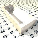 Bathtube bianco sopra il pavimento in bianco e nero fotografie stock