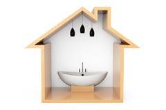 Bathtube blanc moderne dans le contour en bois de Chambre photos libres de droits