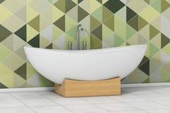 Bathtube blanco moderno delante de Olive Green Geometric Tiles adentro Imágenes de archivo libres de regalías