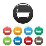 Bathtube icons set color royalty free illustration