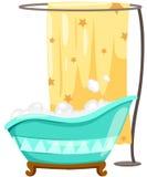 Bathtube met douchegordijn Stock Afbeeldingen