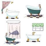 Bathtubs cartoon style. Bathroom interior element. Stock Images