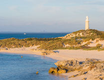 Bathurst Lighthouse on Rottnest Island. Pinky Beach and Bathurst Lighthouse on Rottnest Island, near Perth in Western Australia Stock Images
