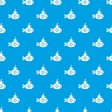 Bathyscaphe with hatch pattern vector seamless blue. Repeat for any use Royalty Free Stock Photos