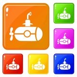 Bathyscaphe with screw icons set vector color. Bathyscaphe with screw icons set collection vector 6 color isolated on white background vector illustration