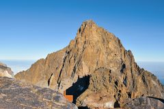 Batian szczyt, góra Kenja Zdjęcie Stock