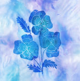 Batic artwork of blue flowers Stock Images