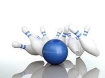 Batida das batidas da esfera de bowling Foto de Stock
