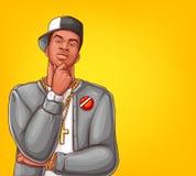 Batida do pop art do vetor, caráter masculino do hip-hop ilustração stock