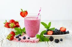 Batido da baga, bebida saudável, dieta ou vegetariano do iogurte da desintoxicação do verão fotografia de stock