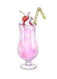 Batido de leche de la cereza con crema y atasco azotados en un vidrio transparente con un túbulo aislado en un fondo blanco Gráfi Imágenes de archivo libres de regalías