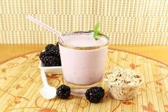 Batido de leche hecho en casa de la zarzamora con la fruta y la harina de avena de la zarzamora Imagenes de archivo