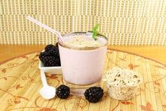 Batido de leche hecho en casa de la zarzamora con la fruta y la harina de avena de la zarzamora Imagen de archivo libre de regalías