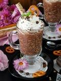 Batido de leche hecho de escamas del chocolate y de la avena con crema azotada Imágenes de archivo libres de regalías