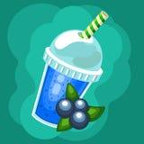 Batido dos desenhos animados com os mirtilos a ir copo com bebida diferente do cocktail dos batidos dos frutos Foto de Stock