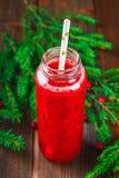 Batidos frescos da airela, de uma bebida saudável suculenta da vitamina com bagas, do conceito da nutrição e da saúde Ramos Spruc Fotos de Stock Royalty Free