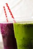 Batidos verdes para uma dieta dos espinafres Imagem de Stock Royalty Free