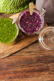 Batidos verdes para uma dieta dos espinafres Fotografia de Stock