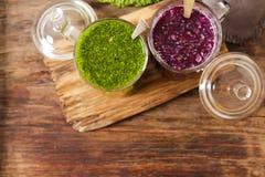 Batidos verdes para uma dieta dos espinafres Imagem de Stock