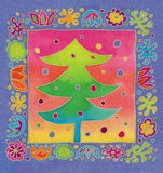 Batik christmas tcard Stock Photos