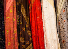 Batik. Cloth for sale at a fair of the East stock photography