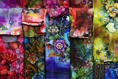 Batik cloths on display Royalty Free Stock Images