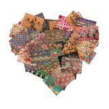 Batik Collage in heart shape Stock Photography