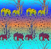 Batik colorful pattern with cute animal, Elephants. The elephant`s baby with mother. A walk in the savannah. Batik tiger pattern with cute animal, Elephants. The Royalty Free Stock Images