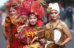 Batik creation. Model presenting batik creation of red batik in solo, central java, indonesia Stock Photos