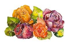 Batik delle rose del mazzo illustrazione per il disegno illustrazione di stock