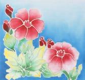 Batik design. Floral pattern paint on a batik design from Thailand Royalty Free Illustration