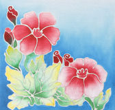 Batik design. Floral pattern paint on a batik design from Thailand Stock Images
