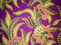 Batik fabric art. Indonesian batik cloth characteristic that have been entrenched Stock Photos