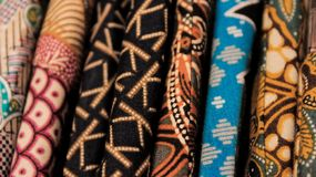 Batik fabric in a store display. stock photo