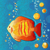 Batik Fish. Traditional wax-resist batik style design in orange, blue and gold of a fish underwater with bubbles. EPS8 compatible Royalty Free Stock Photos