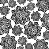 Batik floral negro y blanco Imagen de archivo
