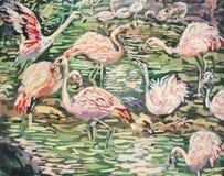 Batik het schilderen van flamingo's Stock Foto's