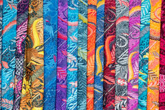 Batik indonesian silk cotton fabric tissue for sale Stock Images