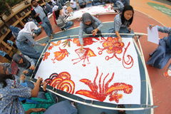 BATIK OF LEARNING DISABLED CHILDREN Royalty Free Stock Photo