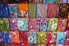 Display of batik fabrics in thailand royalty free stock photography