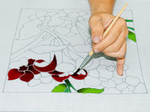 Batik painting with brush Royalty Free Stock Photos