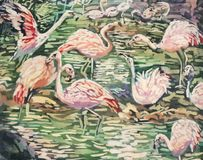 Batik painting of flamingos stock photos