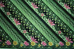Batik Pattern in Green Color Stock Photos